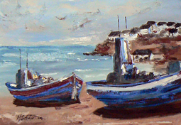 Arniston fishing boats painting