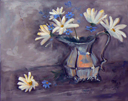 Daisies in silver pot painting