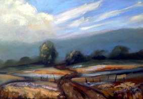 Country road landscape painting