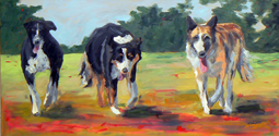 Dogs oil painting