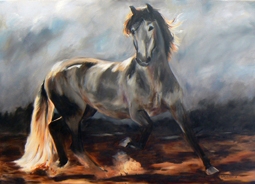 Wild horse oil painting