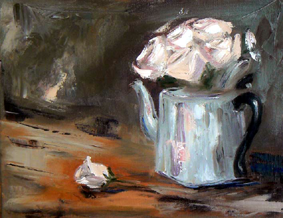 Pink roses in silver teapot painting