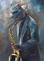 Saxophone player oil painting