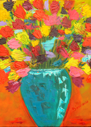 Bright color flower painting