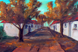 Autumn trees in street painting