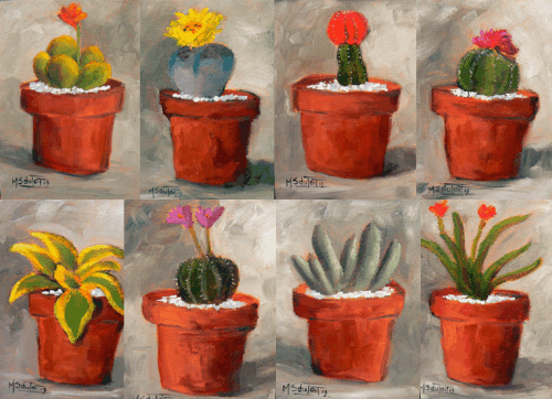 Cacti collection oil painting