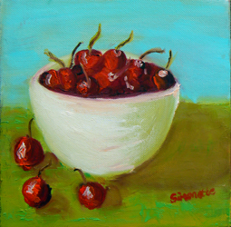 Bowl with cherries painting