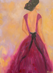 Lady in purple dress oil painting
