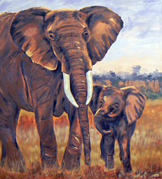 Elephants oil painting