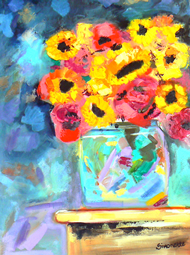 Bright colorful flowers painting