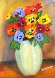 Bright color pansies painting
