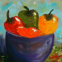 Bowl with peppers painting