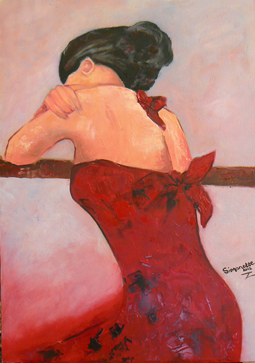 Lady in red dress oil painting
