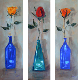 Roses in coloured bottles painting