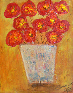 Abstract Flowers In Pot Painting