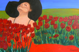 Woman in tulip field painting