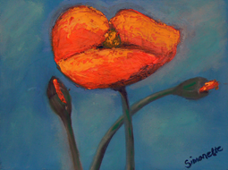 Abstract poppy painting