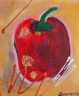 Red pepper still life painting