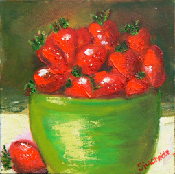 Bowl with strawberries painting