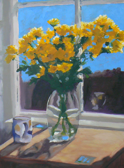 Yellow daisies still life oil painting