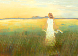 Woman in landscape painting
